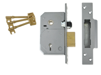 UNION 3K74E 5 Lever Mortice Rollerbolt Sashlock C-Series 80mm Brass