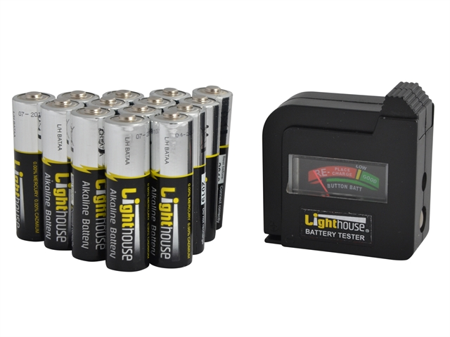 XMS Lighthouse AA Batteries Bulk Pack of 14 + Tester