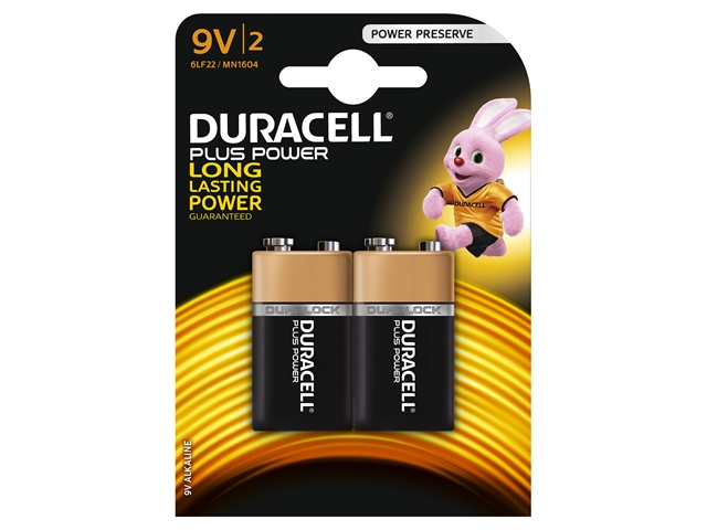 XMS Duracell 9V Alkaline Batteries Pack of 2
