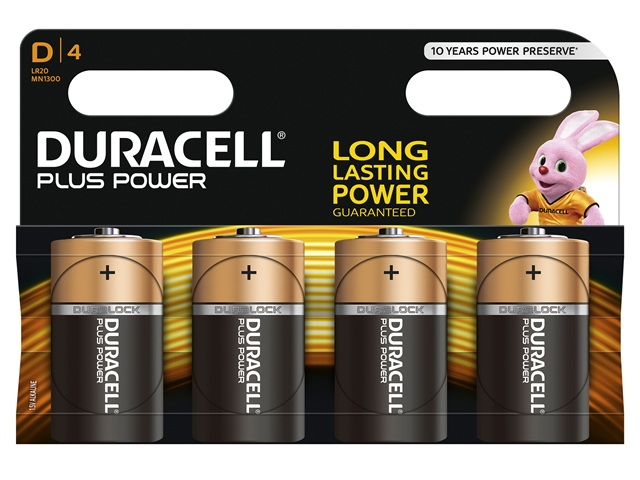 XMS Duracell D Batteries Pack of 4