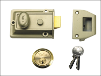 Yale Locks 77 Traditional Nightlatch 60mm Backset Nickel Brass Finish SC Cylinder Box
