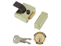 Yale Locks 85 Deadlocking Nightlatch 40mm Backset Brasslux Finish Box