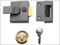 Yale Locks 85 Deadlocking Nightlatch 40mm Backset DMG Finish Satin Chrome Cylinder Box